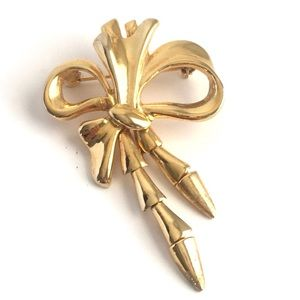 Vintage Bow Brooch Moveable Gold Tone Pin Ribbon